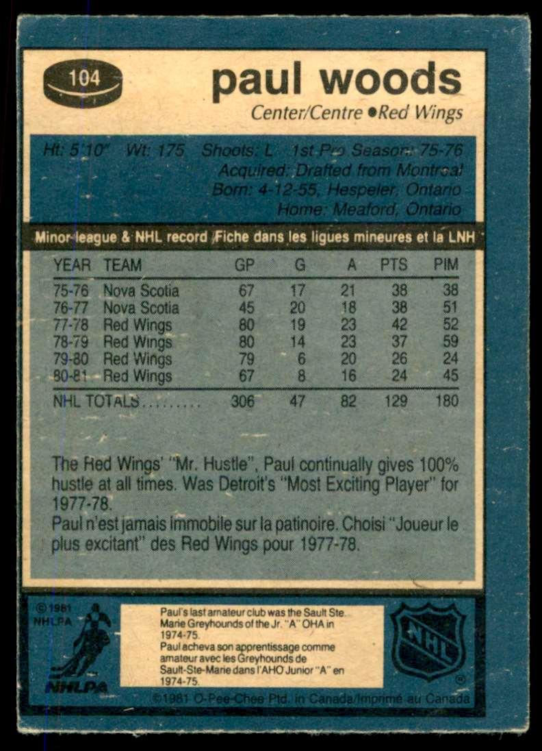 1981-82 OPC Paul Woods #104 card back image
