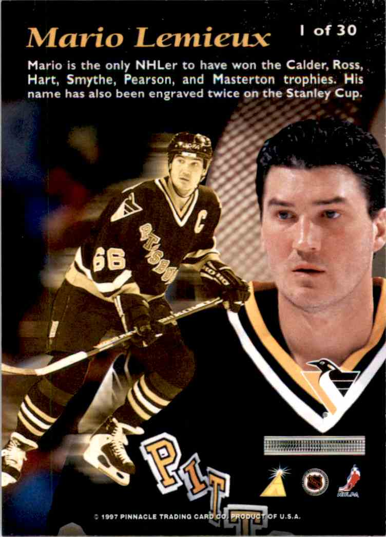 1996-97 Pinnacle Mint Bronze Mario Lemieux #1 card back image