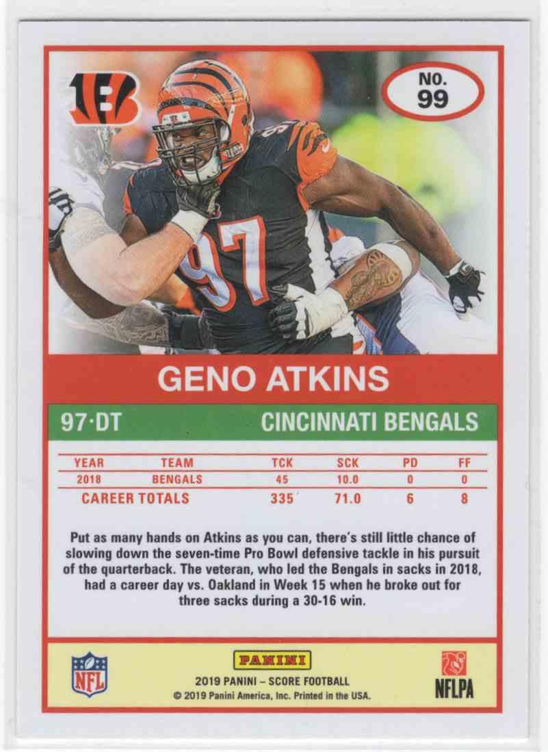 2019 Panini Score Geno Atkins #99 card back image
