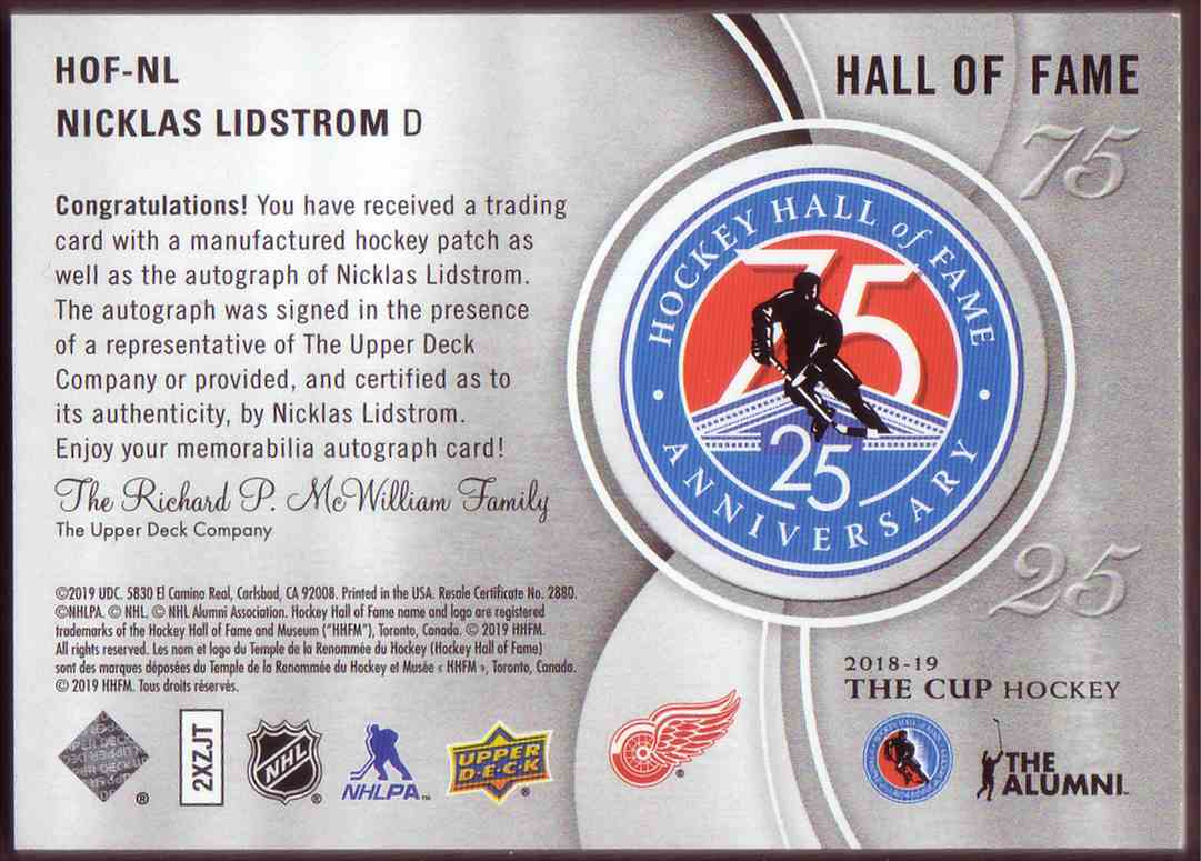 2018-19 Upper Deck The Cup Hall Of Fame Anniversary 75/25 Auto Nicklas Lidstrom #HOF-NL card back image