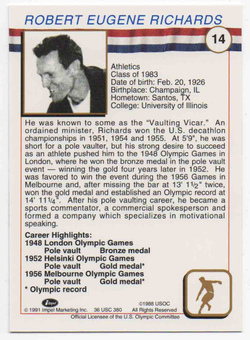 1991 Impel U.S. Olympic Hall Of Fame Bob Richards #14 card back image
