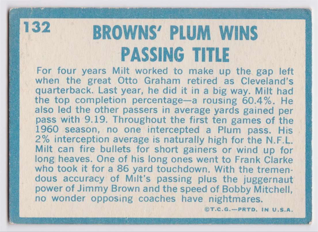 1961 Topps Plum Wins Pasing Title #132 card back image