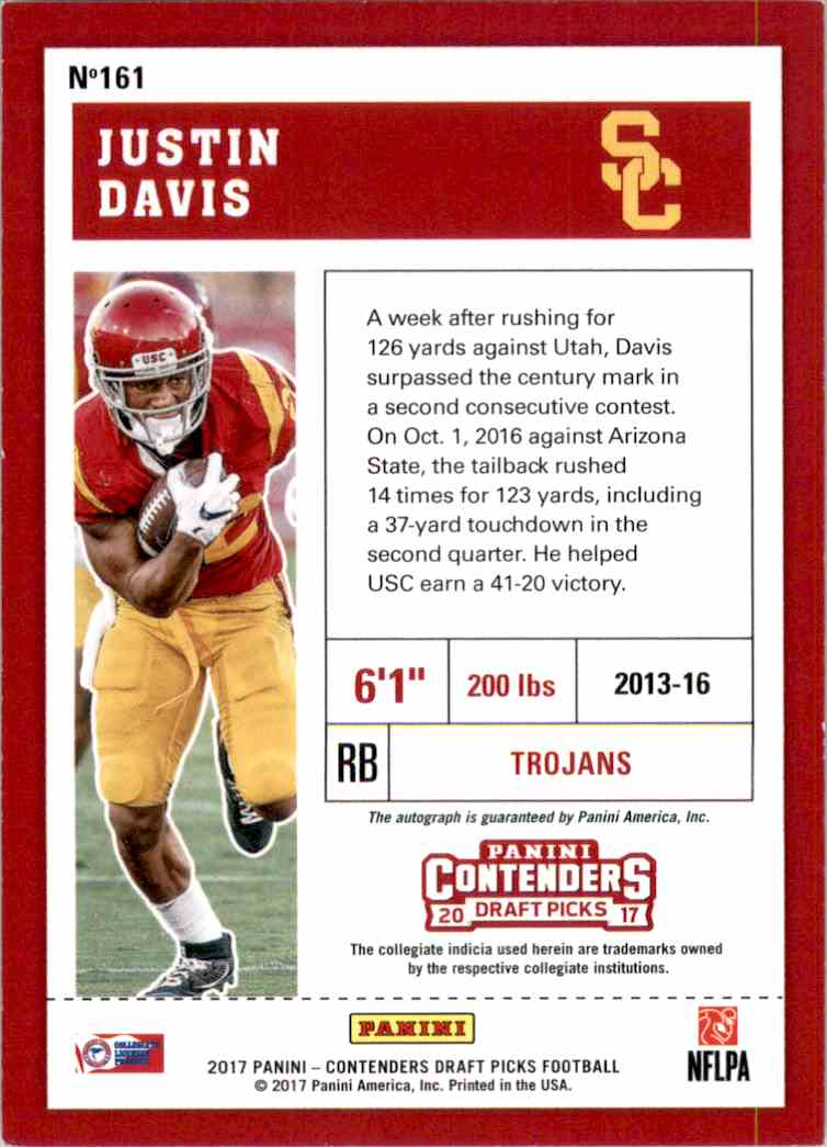 2017 Panini Contenders Draft Picks College Draft Ticket Blue Foil Justin Davis #161 card back image