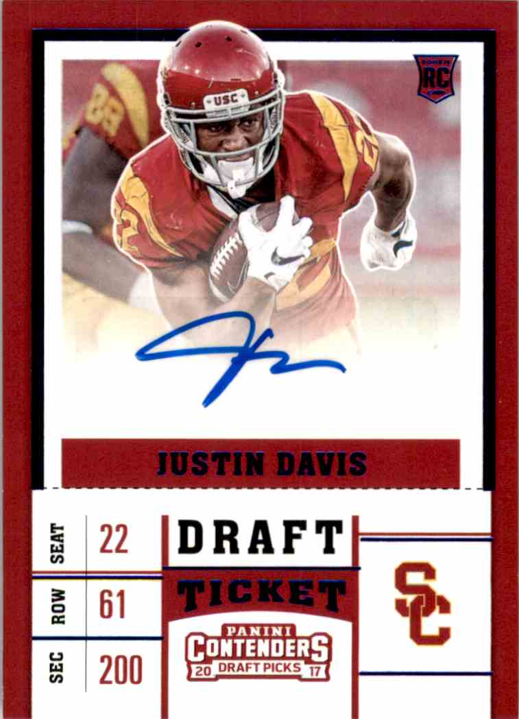 2017 Panini Contenders Draft Picks College Draft Ticket Blue Foil Justin Davis #161 card front image
