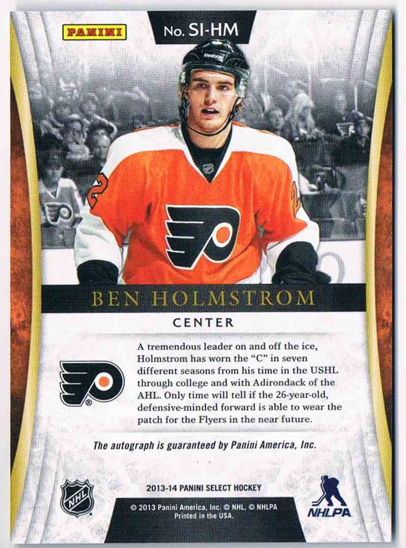 2013-14 Panini Select Signatures Ben Holmstrom #SI-HM card back image