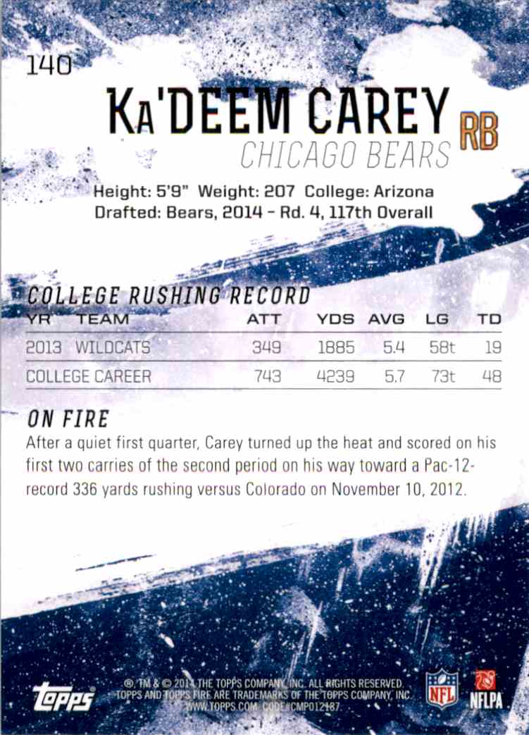 2014 Topps Fire Ka'Deem Carey RC #140 card back image