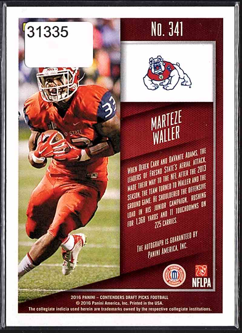 2016 Panini Contenders Draft Picks College Draft Ticket Blue Foil Marteze Waller #341 card back image