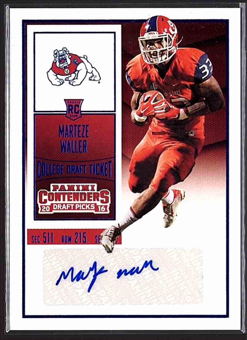 2016 Panini Contenders Draft Picks College Draft Ticket Blue Foil Marteze Waller #341 card front image