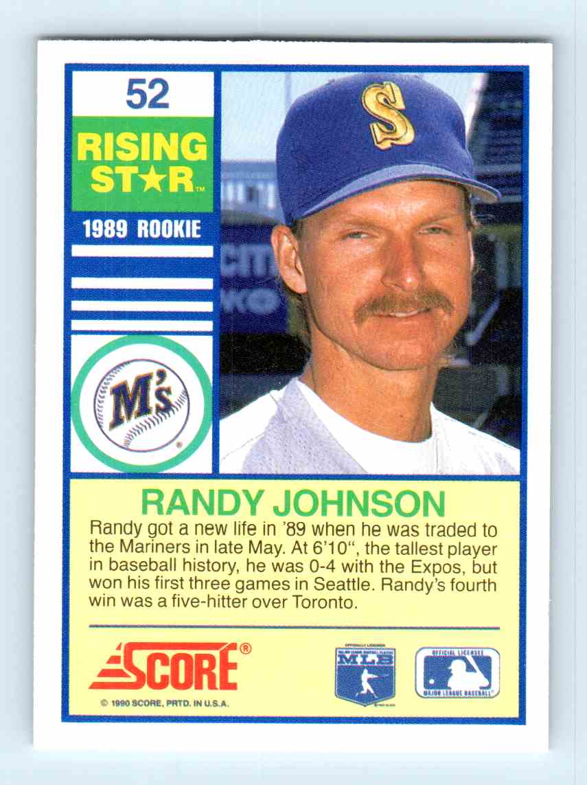 1990 Score Rising Star Randy Johnson 52 On Kronozio