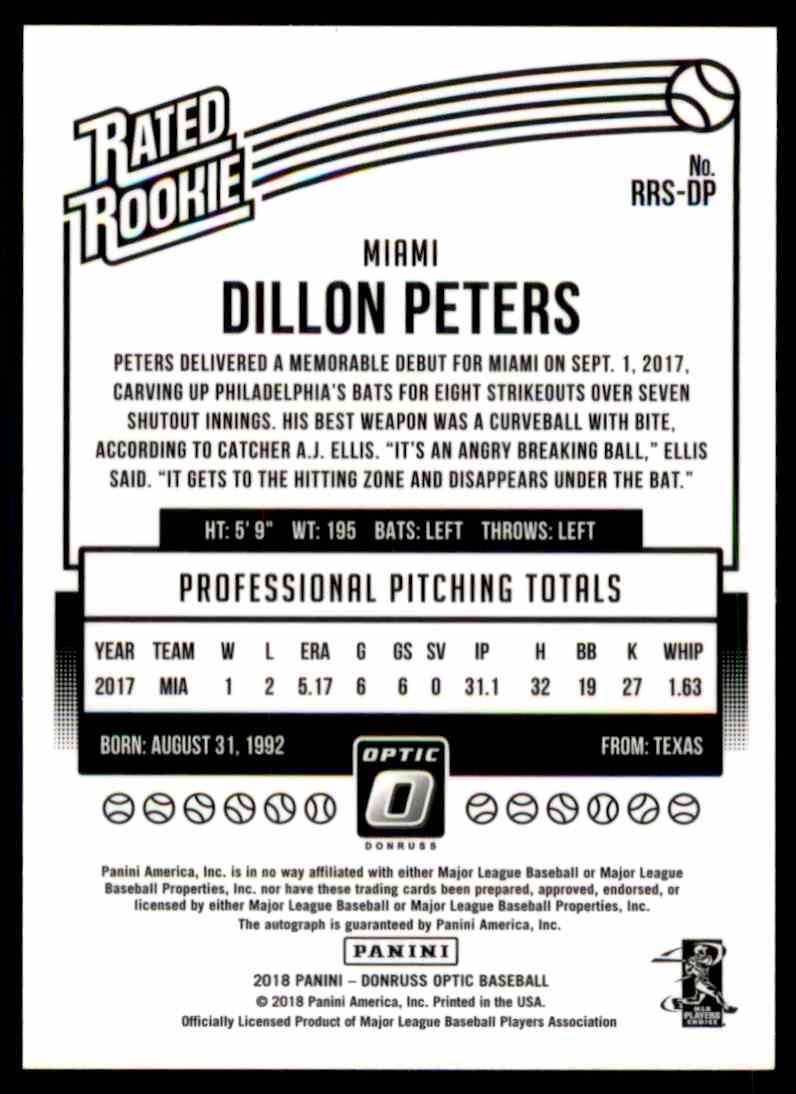 2018 Donruss Optic Dillon Peters #RRS-DP card back image