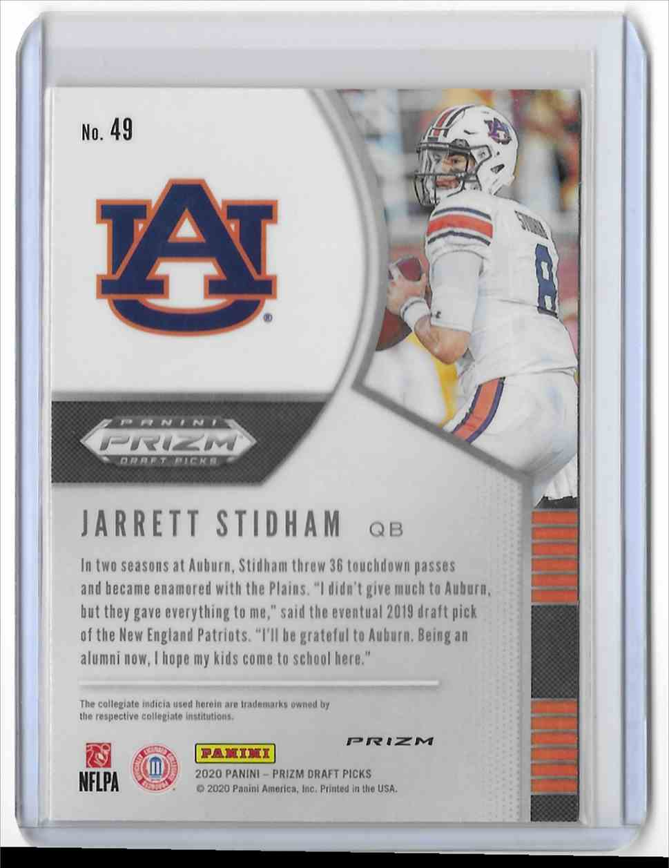2020 Panini Prizm Draft Picks Red Jarrett Stidham #49 card back image