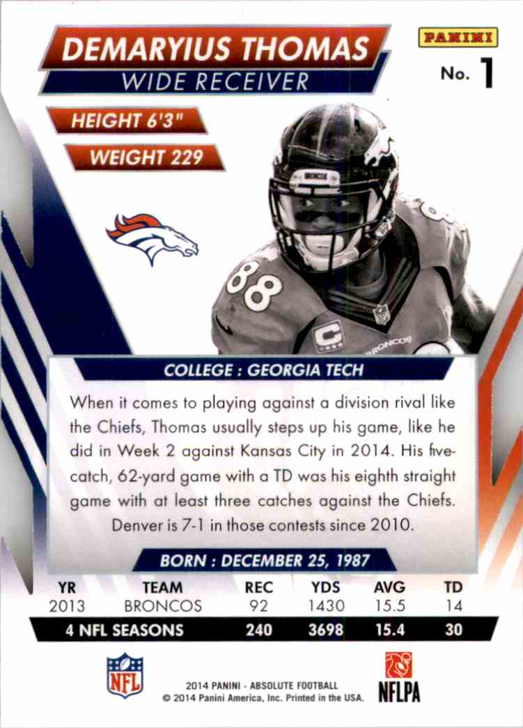 2014 Absolute Retail Red Demaryius Thomas #1 card back image