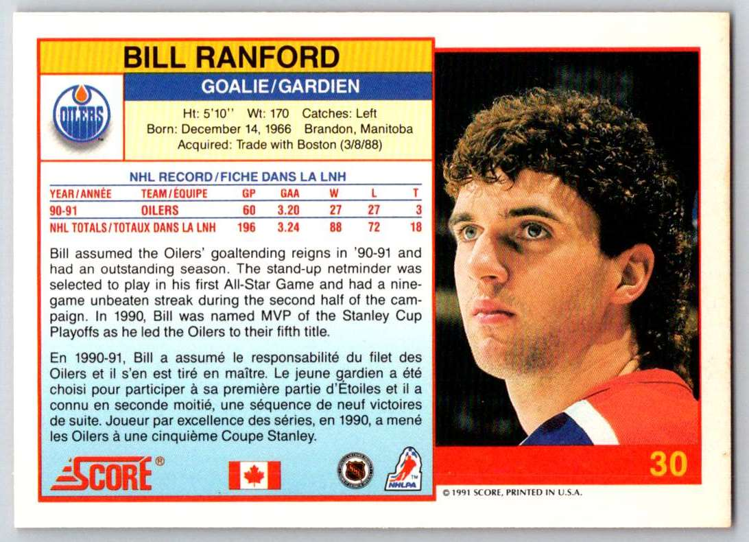 1991-92 Score Canadian Bilingual Bill Ranford #30 card back image