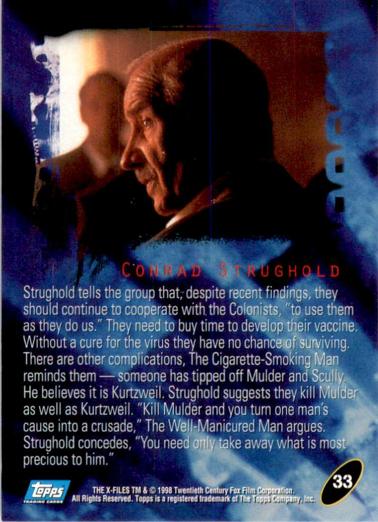 1998 X-Files Fight The Future Conrad Strughold #33 card back image