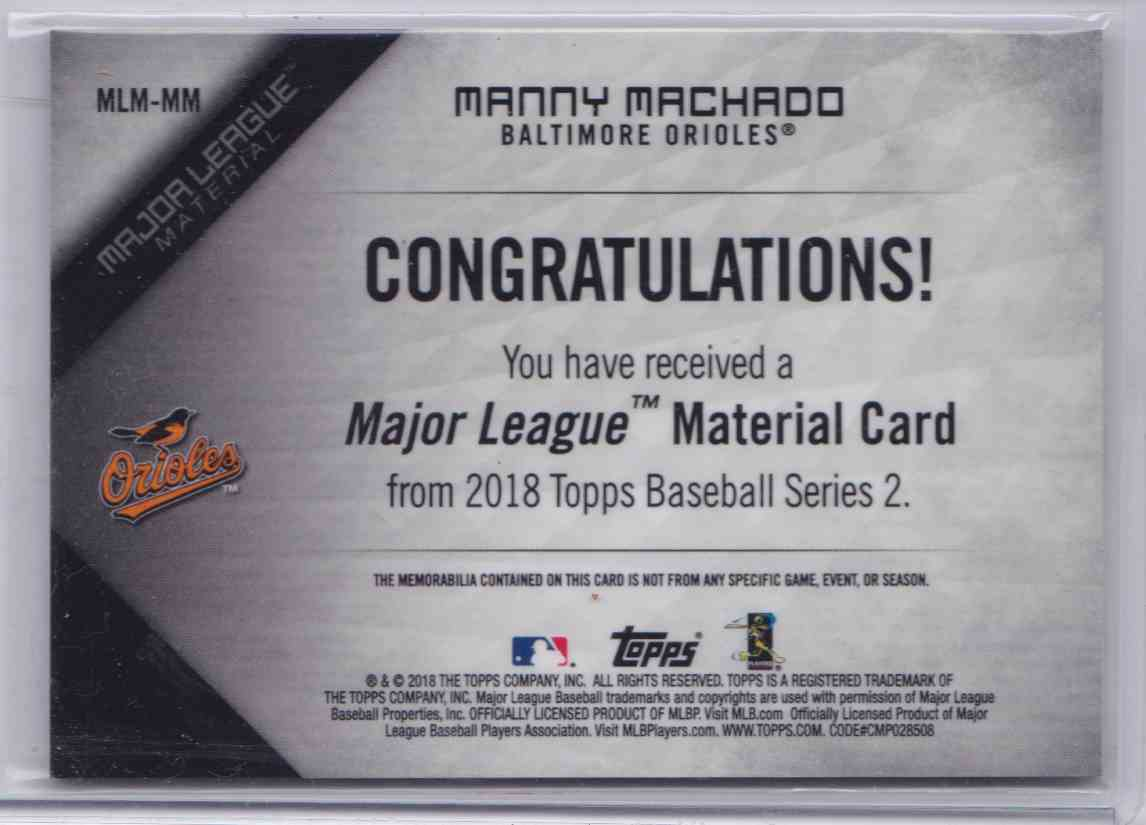 2018 Topps Series 2 Major League Material Manny Machado #MLM-MM card back image