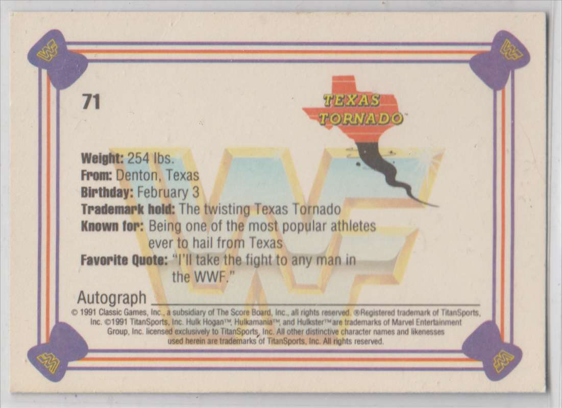 1991 Classic WWF Superstars Texas Tornado #71 card back image