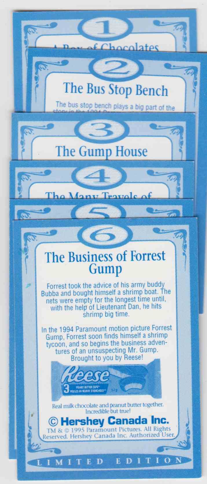 1995 Hershey Canada Wit And Wisdom Forrest Gump #6 card back image