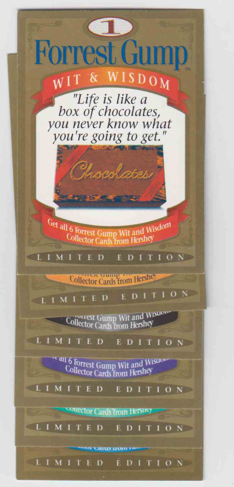 1995 Hershey Canada Wit And Wisdom Forrest Gump #6 card front image