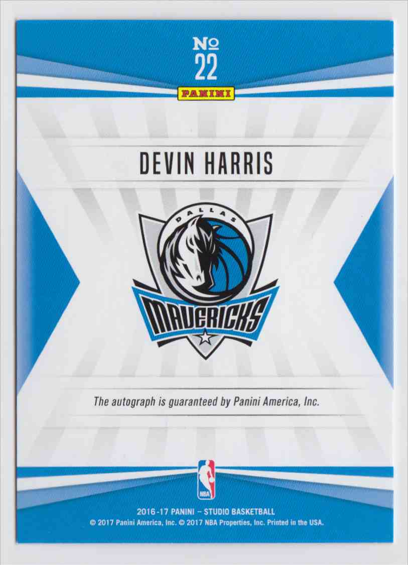 2016-17 Panini Studio Signatures Devin Harris #22 card back image