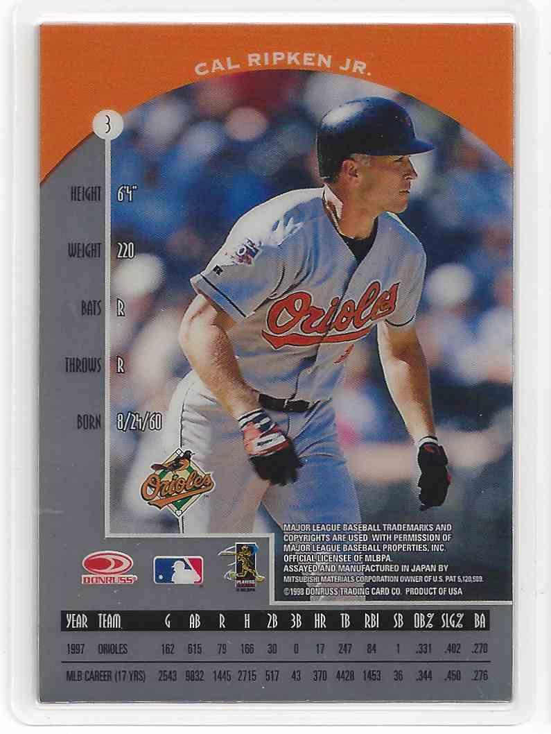 1998 Donruss Preferred Precious Metals Platinum Cal Ripken, JR. #3B card back image