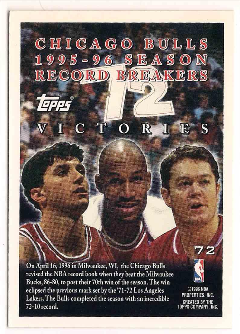 1996-97 Topps Chicago Bulls 70 Wins Record Breaker #72 card back image