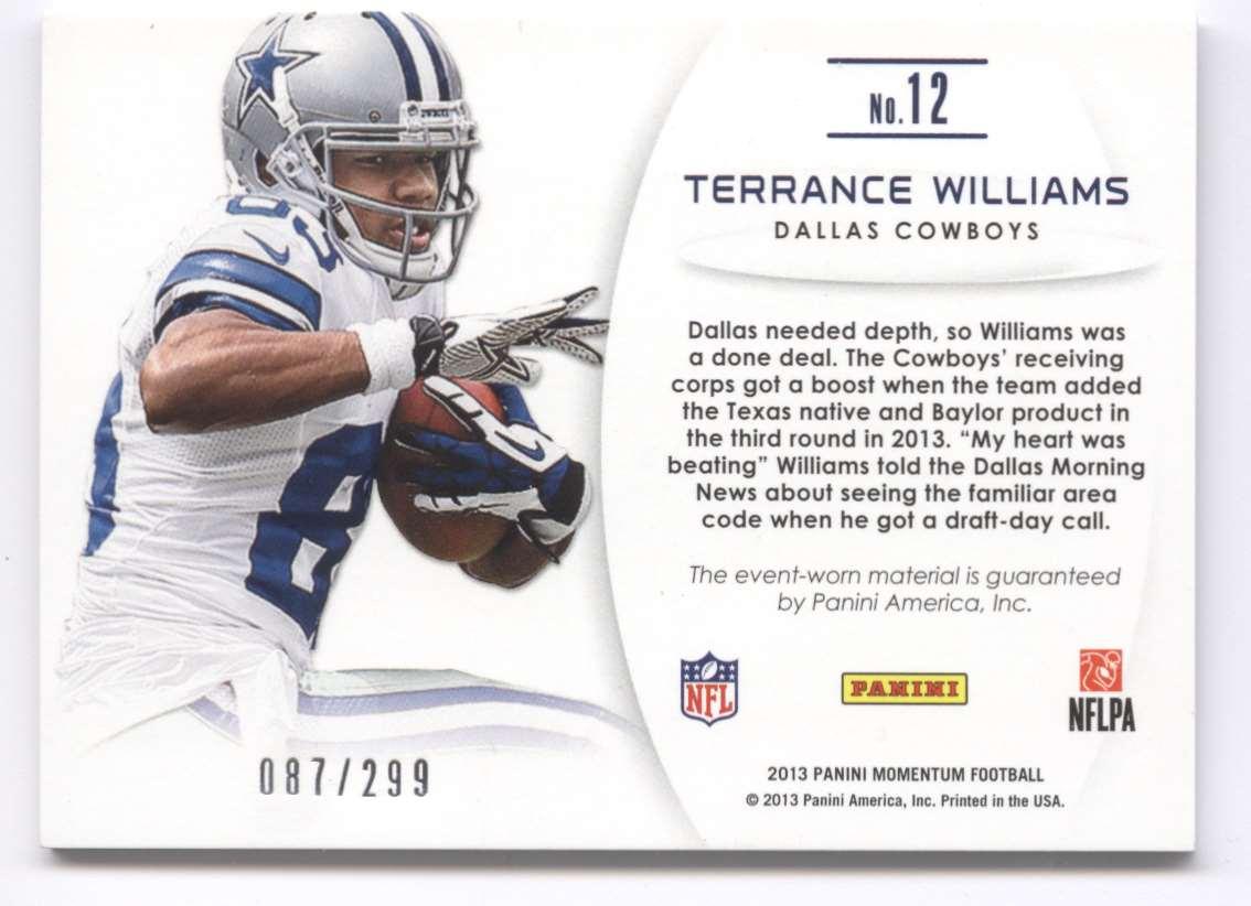 2013 Panini Momentum Upside Jumbo Relics Terrance Williams #12 card back image