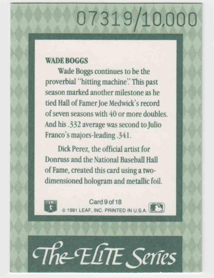 1992 Donruss Elite Wade Boggs #9 card back image