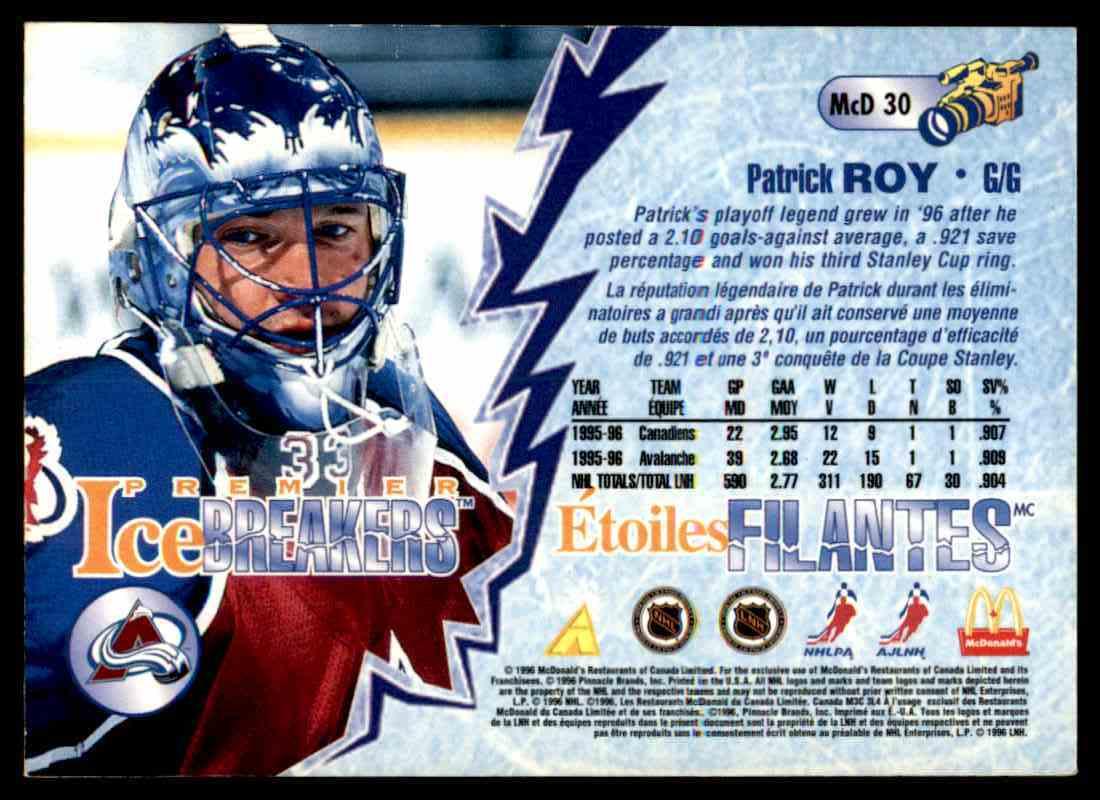1996-97 Pinnacle McDonald's Patrick Roy #MCD 30 card back image