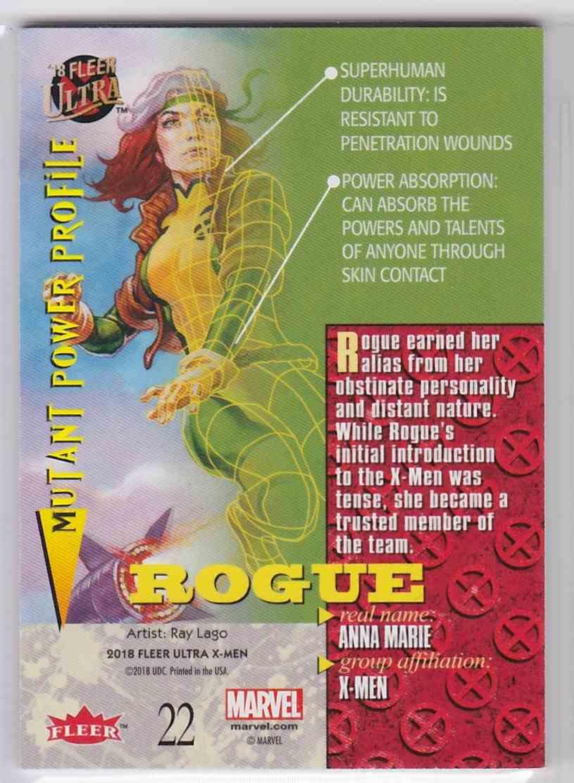 2018 Fleer Ultra X-Men Silver Foil Stamp Rogue #22 card back image