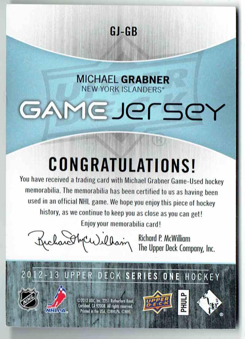 2012-13 Upper Deck UD Game Jersey Michael Grabner #GJ-GB card back image