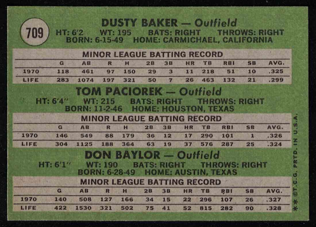 1971 Topps Dusty Baker, Tom Paciorek, Don Baylor High Number NM-MT #709 card back image