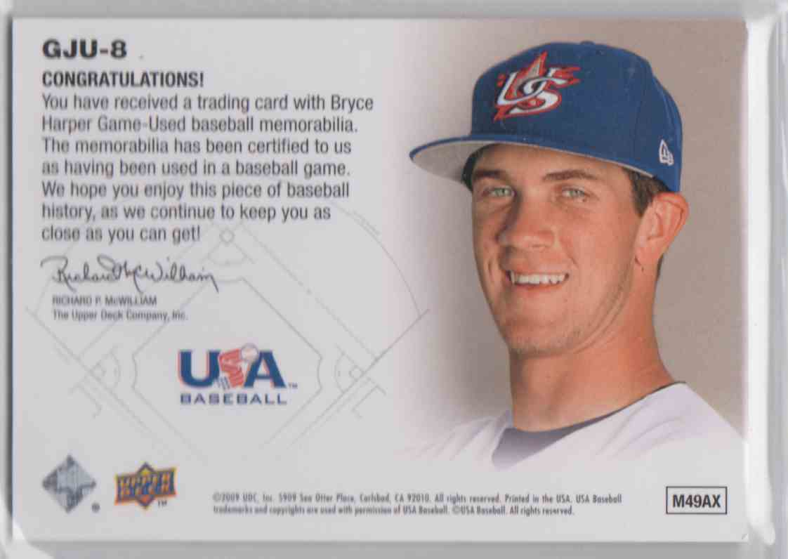 2009 Upper Deck Signature Stars USA Star Prospects Jerseys Bryce Harper #CJU-8 card back image