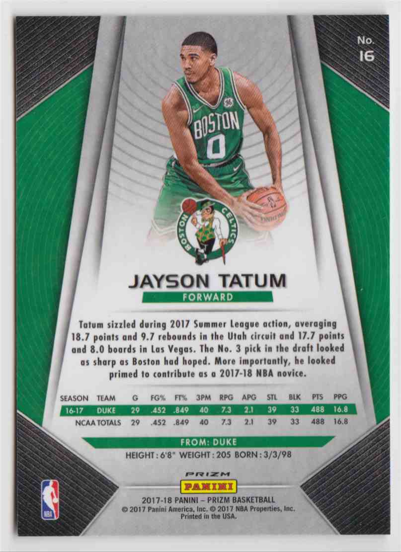 2017-18 Panini Prizm Fast Break Jayson Tatum #16 card back image