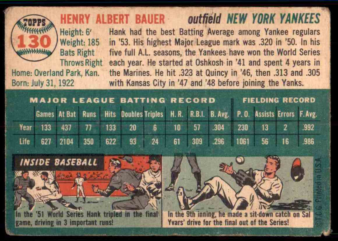 1954 Topps Hank Bauer #130 card back image