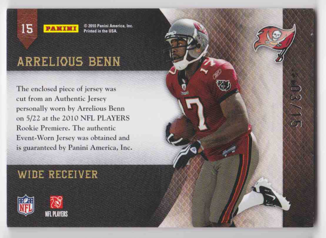 2010 Plates & Patches Jumbo Illinois Arrelious Benn #15 card back image
