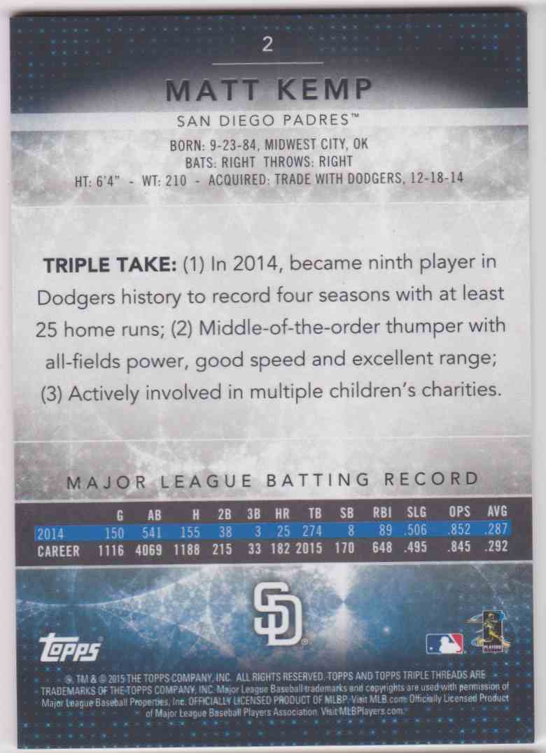 2015 Topps Triple Threads Matt Kemp #2 card back image