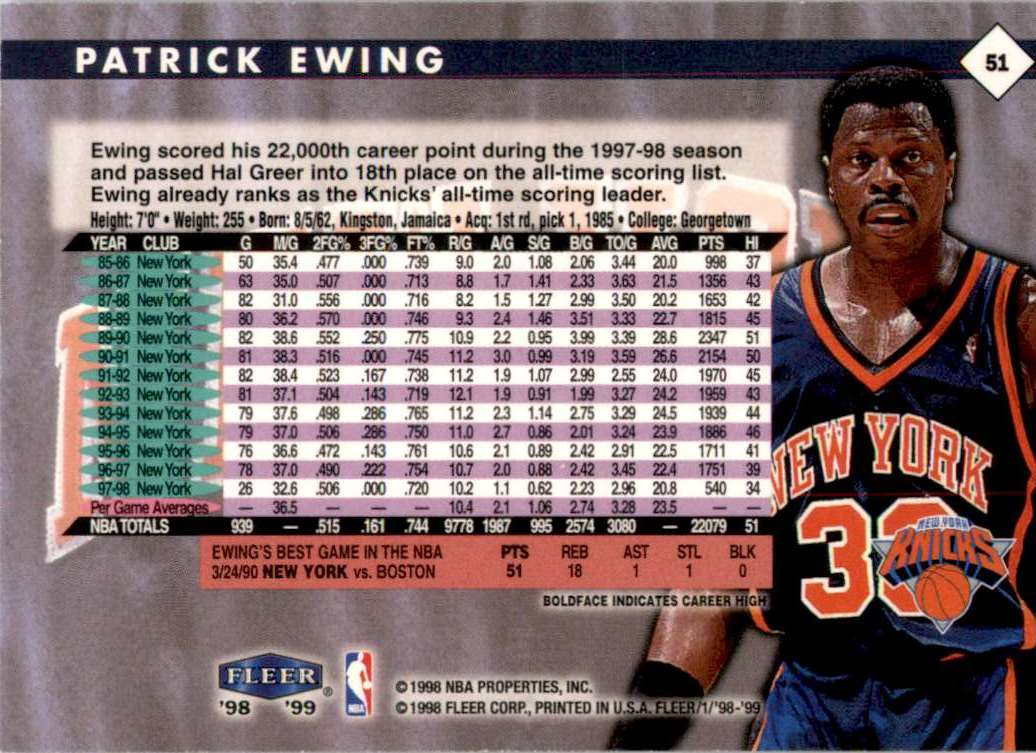 1998-99 Fleer Patrick Ewing #51 card back image