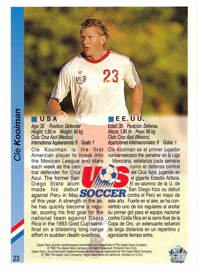 1993 1993 Upper Deck World Cup 94 Preview English/Spanish #23 Cle Kooiman 1993 Upper Deck World Cup 94 Preview English/Spanish Cle Kooiman #23 card back image