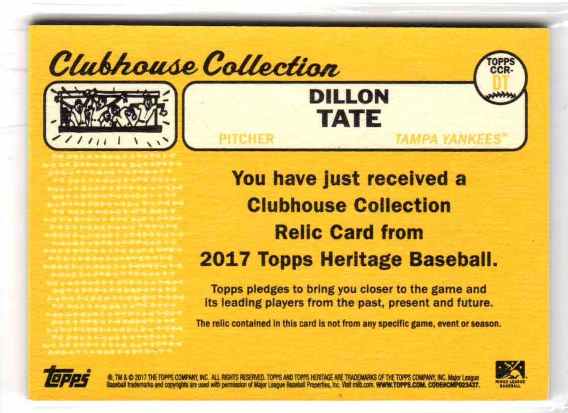 2017 Topps Heritage Minor League Edition Clubhouse Collection Relics Dillon Tate #CCR-DT card back image