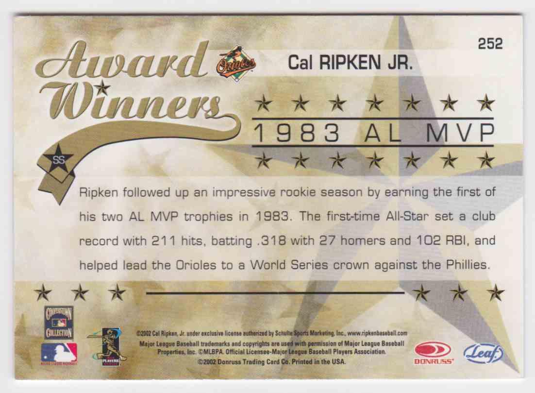 2002 Leaf Rookies & Stars Cal Ripken #252 card back image