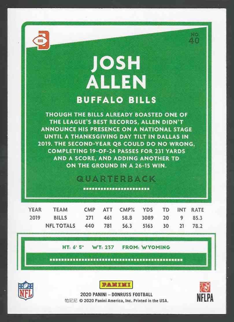 2020 Panini Base Josh Allen #40 card back image