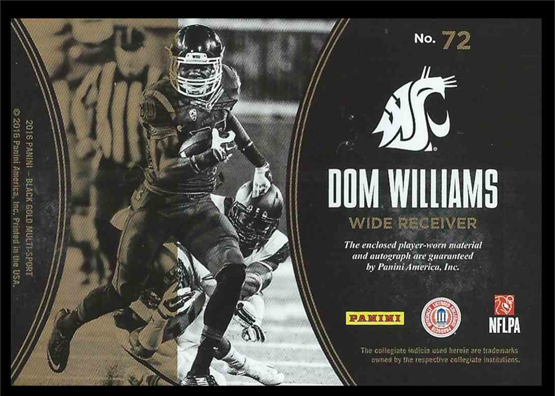 2016 Panini Black Gold Dom Williams #72 card back image