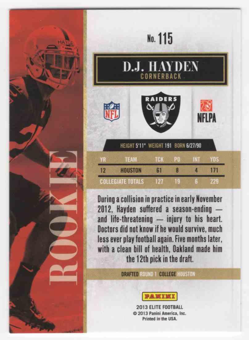 2013 Elite D.J. Hayden #115 card back image