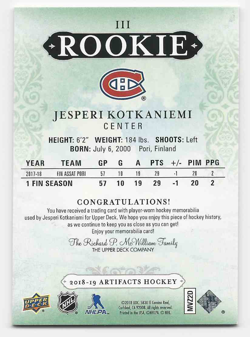 2018-19 Artifacts Rookie Relic Redemptions Silver Jesperi Kotkaniemi #III card back image