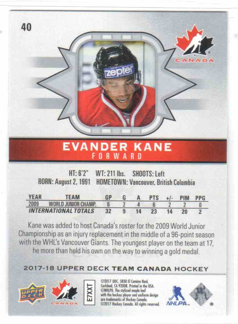 2017-18 Upper Deck Team Canada Canadian Tire Evander Kane #40 card back image