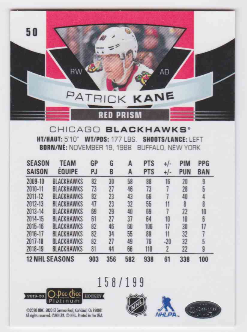 2019-20 Upper Deck Hockey O-Pee-Chee Platinum Patrick Kane - Red Prism #50 card back image