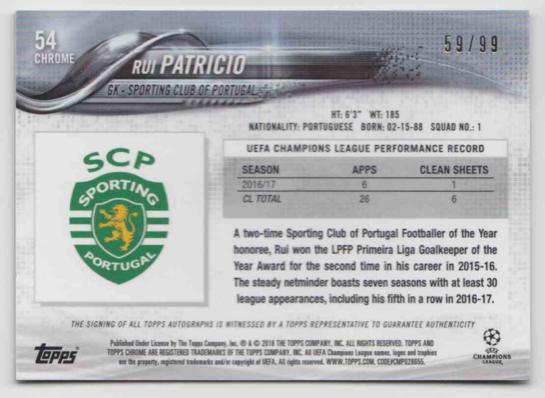 2017 Topps Chrome Champions League Green Refractor Rui Patricio #54 card back image