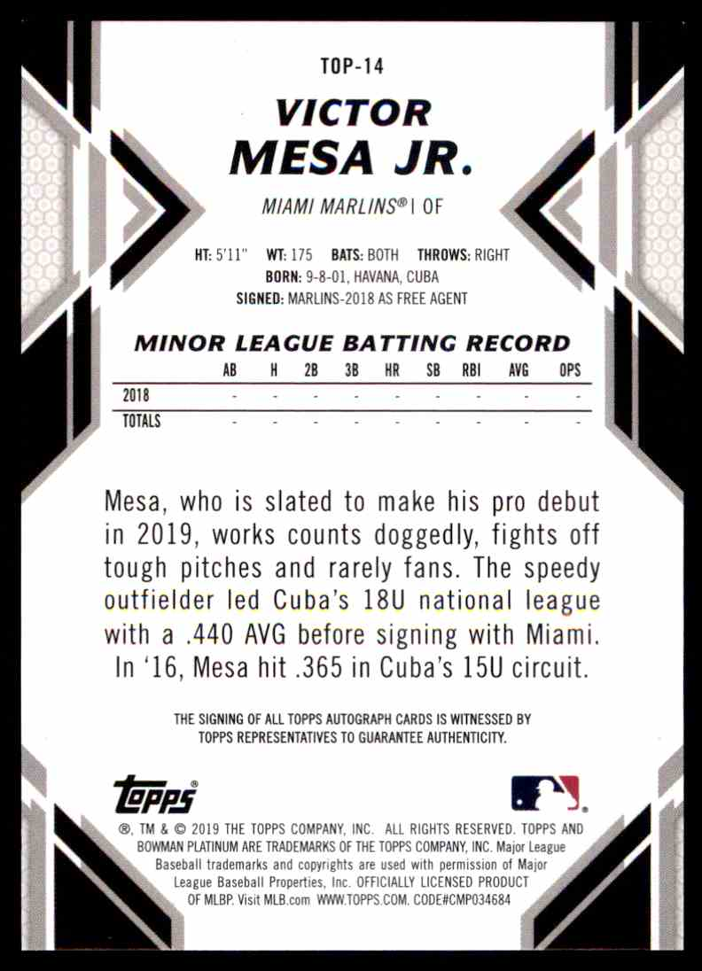 2019 Bowman Platinum Victor Mesa JR #TOP14 card back image