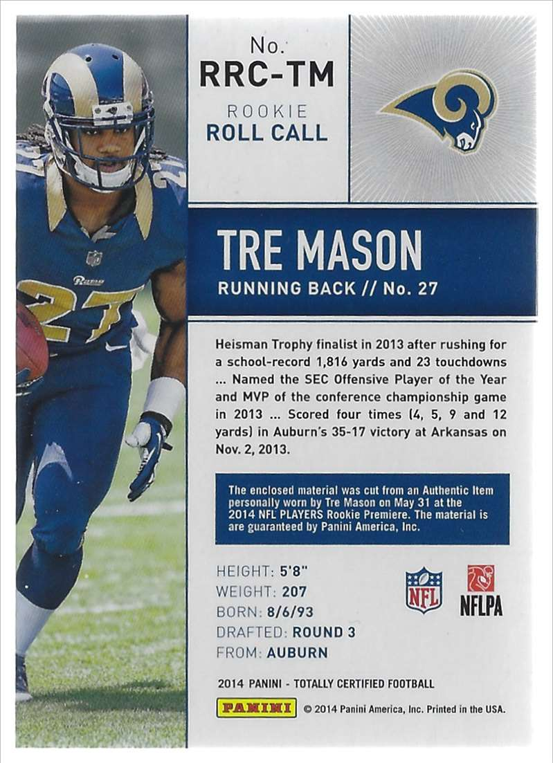 2014 Totally Certified Rookie Roll Call Jerseys Tre Mason #RRCTM card back image