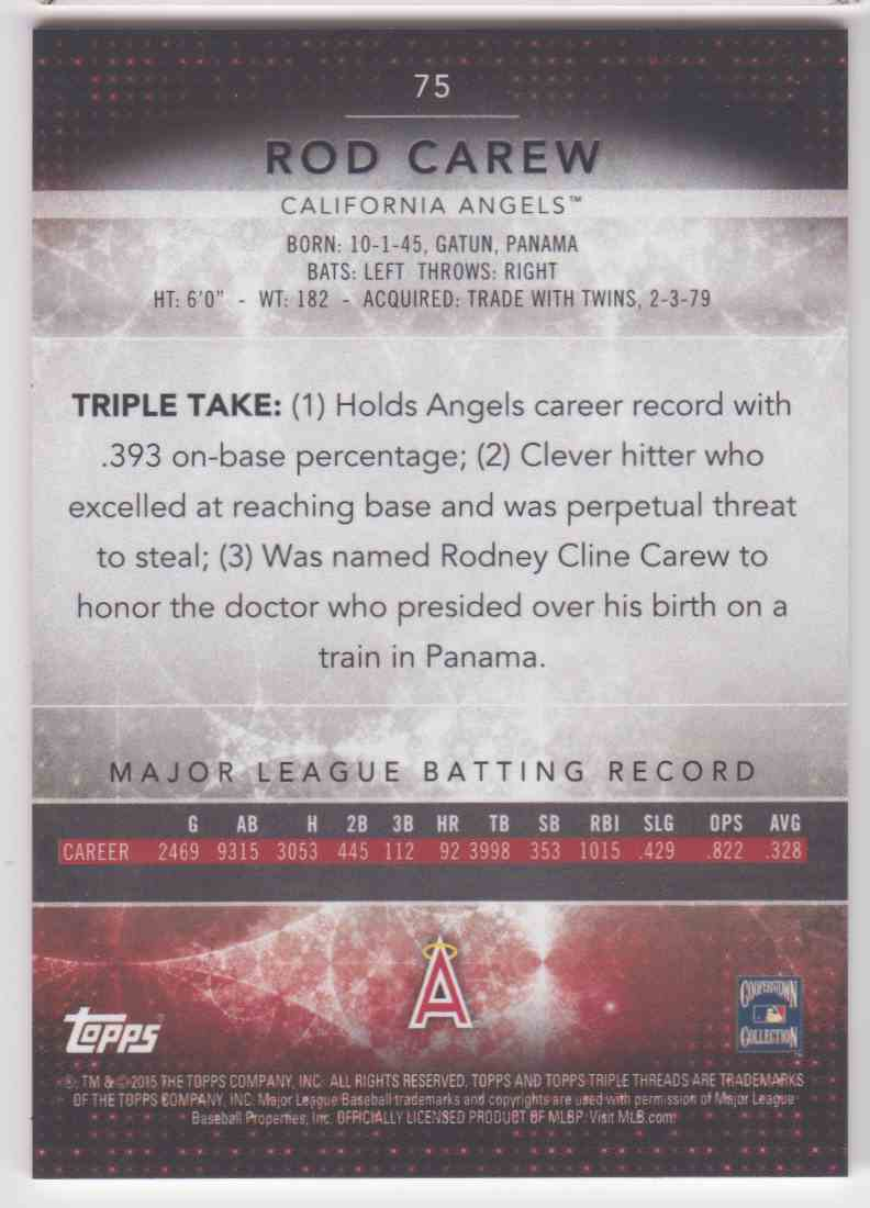 2015 Topps Triple Threads Rod Carew #75 card back image